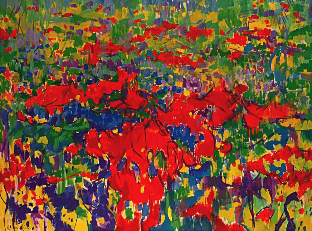 Ettore-Fico-Giardino-fiorito-120-x-160-cm-2003 Disegnamo l'arte da casa, torna l'iniziativa di Abbonamento Musei dedicata ai piccoli artisti