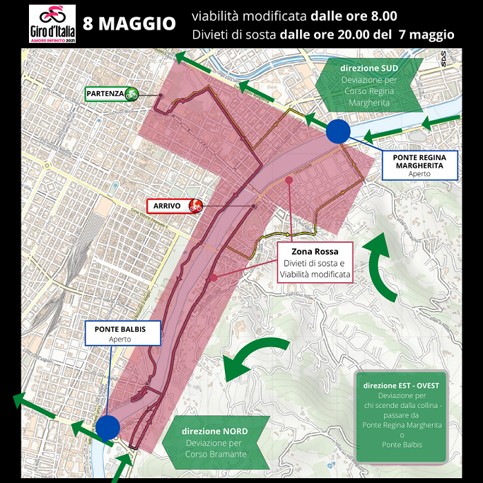 mappa L'8 maggio parte da Torino il Giro d'Italia, diverse modifiche alla viabilità